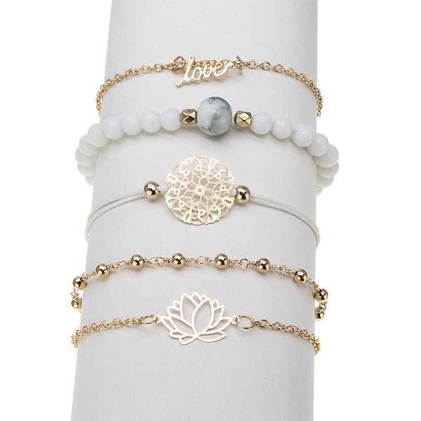 White Marble Filigree Pendant & Love 5 Piece Bracelet Set