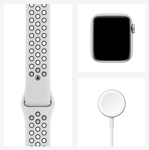Apple Watch Nike SE (GPS, Silver Aluminum, Pure Platinum/Black Nike Sport Band)