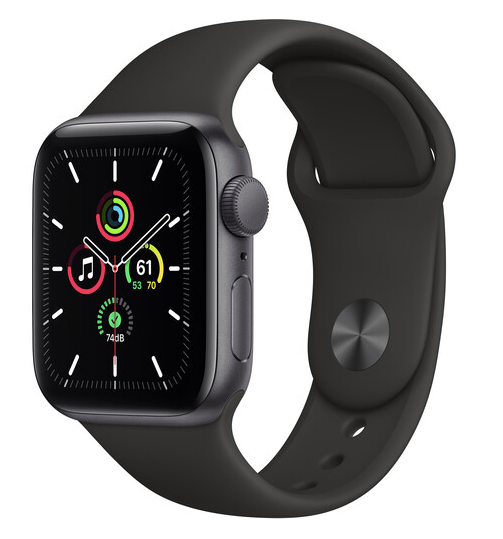 Apple Watch SE (GPS, 40mm, Space Gray Aluminum, Black Sport Band)