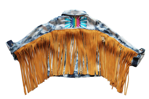 "Custom ""Preplify"" your little ones jean jacket with reclaimed leather fringe"