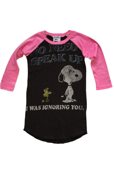 "Upcycled ""Ruru"" Raglan Snoopy Dress- 3T"