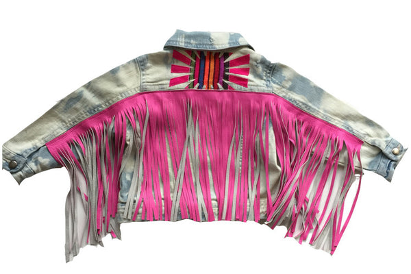 "Custom""Preplify"" your little ones jean jacket with italian leather fringe"