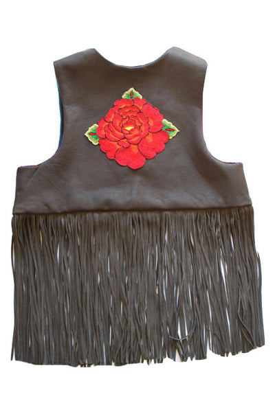 "Mama ""Dewey"" embroidered reclaimed leather vest- smokey carbon"