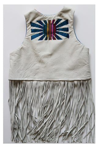 "the ""dewey"" reversible & reclaimed leather fringe vest- bleached bone"
