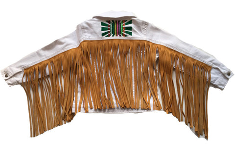 """Prepley"" white jean jacket with reclaimed leather churro fringe- 4yr"