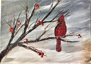 Cardinal Winter Tree Tutorial
