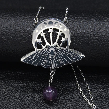 Stainless Steel  Moth Necklace