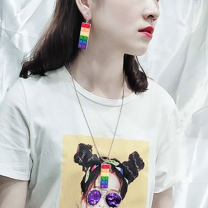 Rainbow Lego Earrings
