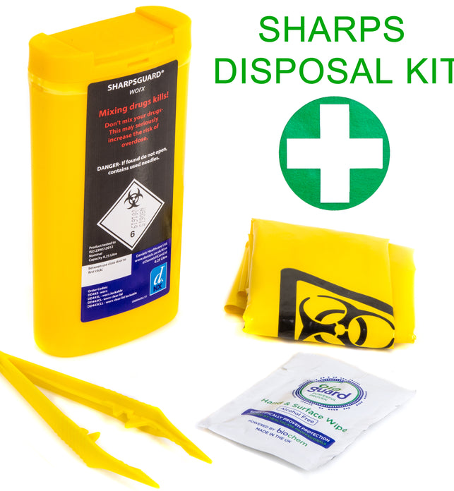 Yellow Sharps Disposal Kit In Bag Small