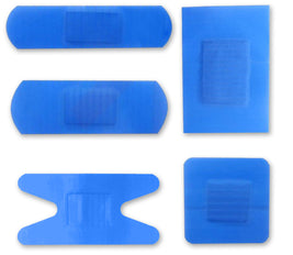 100Pc Assorted Blue Detectable Plasters 5 Sizes Qualicare