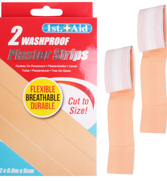 2 Cut-to-Size Latex Free Washproof Plaster Strips 80cm x 6cm