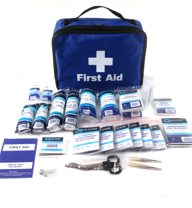 Blue Emergency First Aid Kit Grab Bag Qualicare