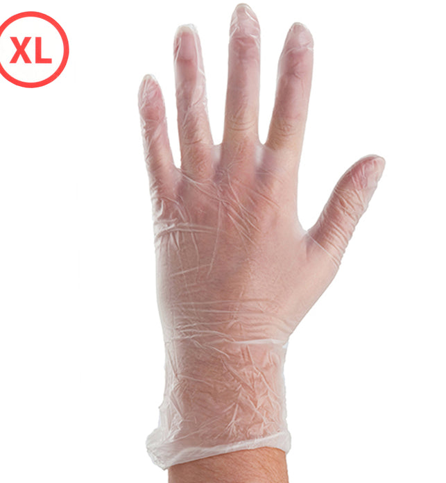 Clear 100Pc Vinyl Disposable Gloves X-Large Beeswift