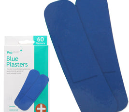60 Blue Detectable Flexible Waterproof Strip Plasters in 2 Sizes