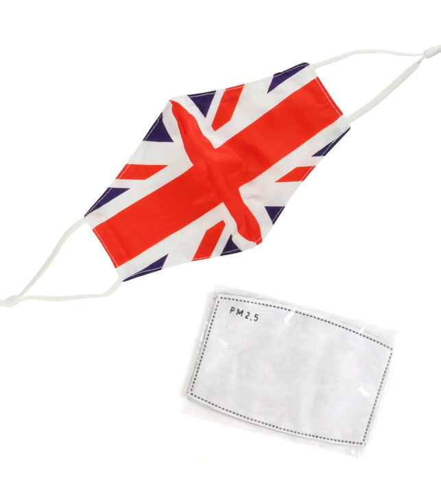 Washable Fabric Face Mask With Adjustable Ear Loops - UK Flag Pattern