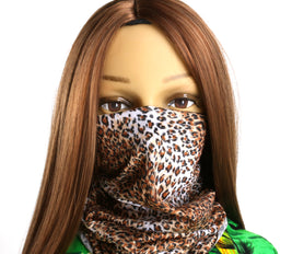 Washable Fabric Snood Face Mask/Balaclava - Leopard Print Pattern