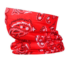 Washable Fabric Snood Face Mask/Balaclava - Red Paisley Print