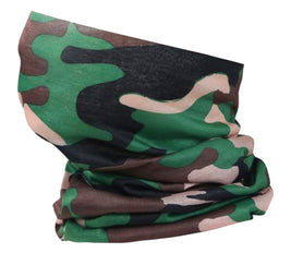 Washable Fabric Snood Face Mask/Balaclava - Green Camouflage Print