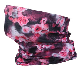 Washable Fabric Snood Face Mask/Balaclava - Pink Flower Print