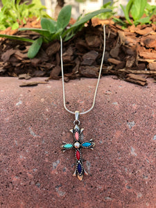 Sterling Silver Multi-stone Stone Cross  Necklace