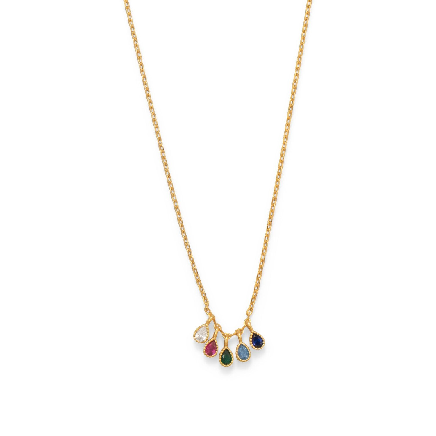 "16""+2"" 14 Karat Gold Plated Multi Color CZ Necklace"