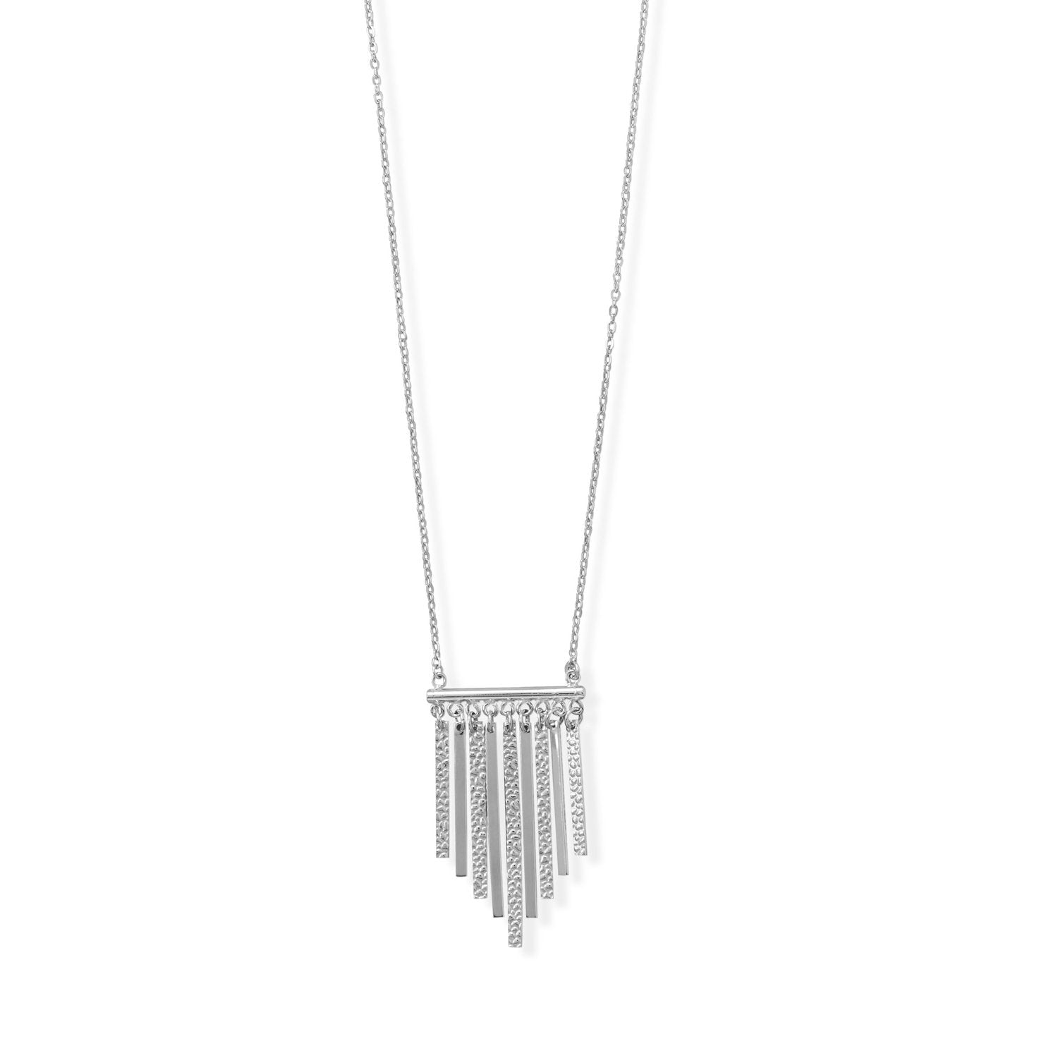 "A Daring Drop! 16""+2 Rhodium Plated Polished and Textured Bar Necklace"