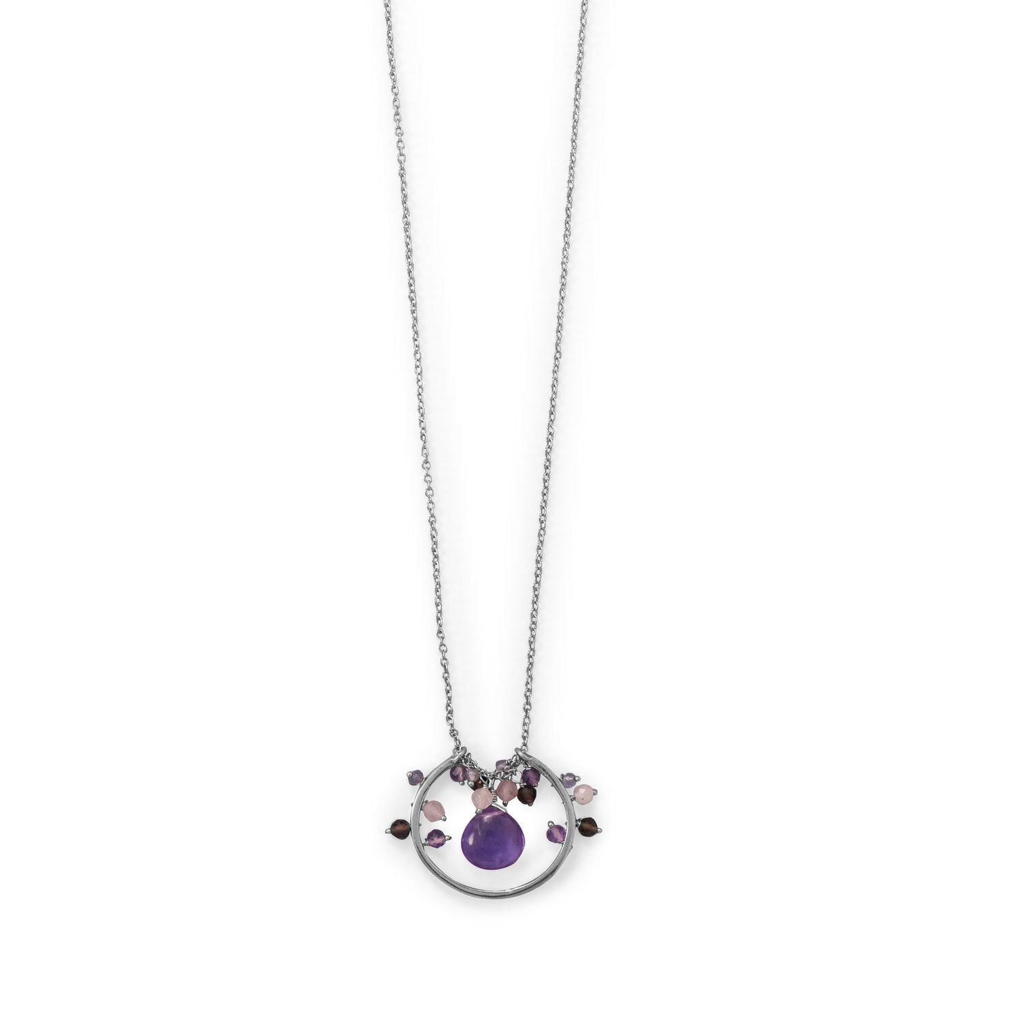 "30"" Rhodium Plated Amethyst, Multi Stone Beaded Necklace"