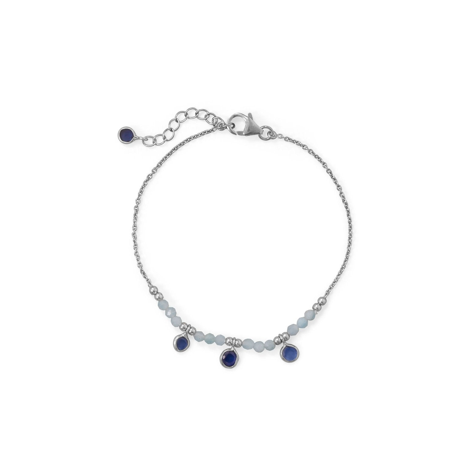 "Blue Baubles! 7""+1"" Rhodium Plated Aquamarine and Blue Quartz Bracelet"