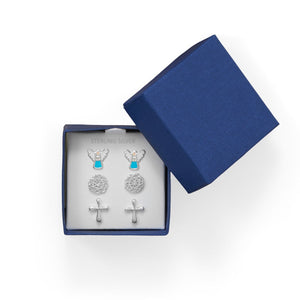 Angel, Flower and Cross Earring Set