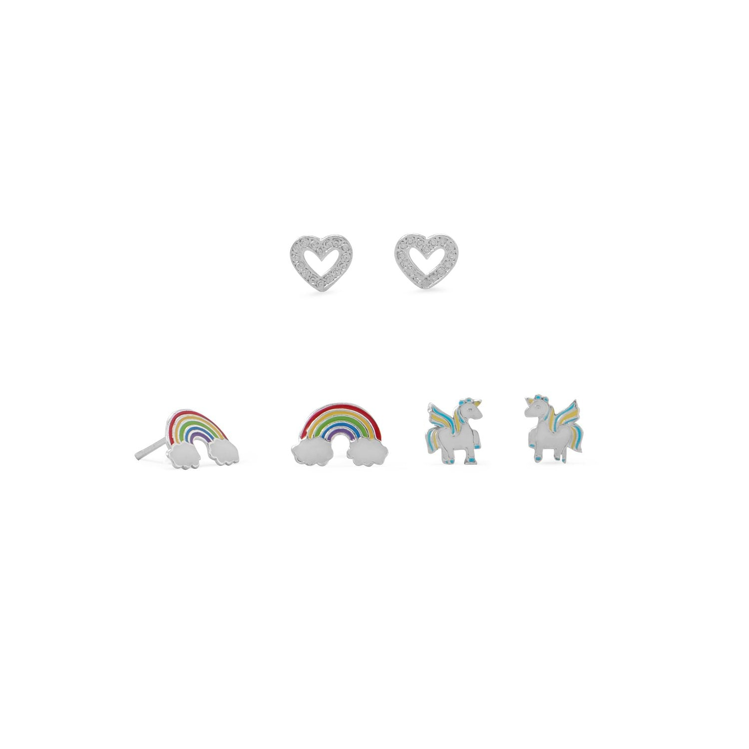 Rainbow, Heart and Unicorn Earring Set