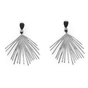 LBD Essentials! Black CZ Wire Fan Post Earrings