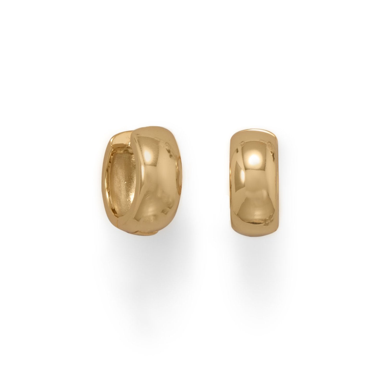 14 Karat Gold Plated Wide Huggie Hoop Earrings