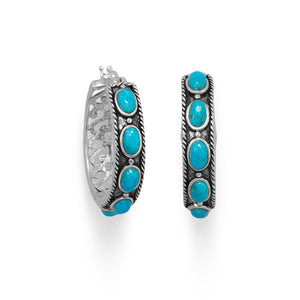 Ornate Oxidized Turquoise Hoop Earring