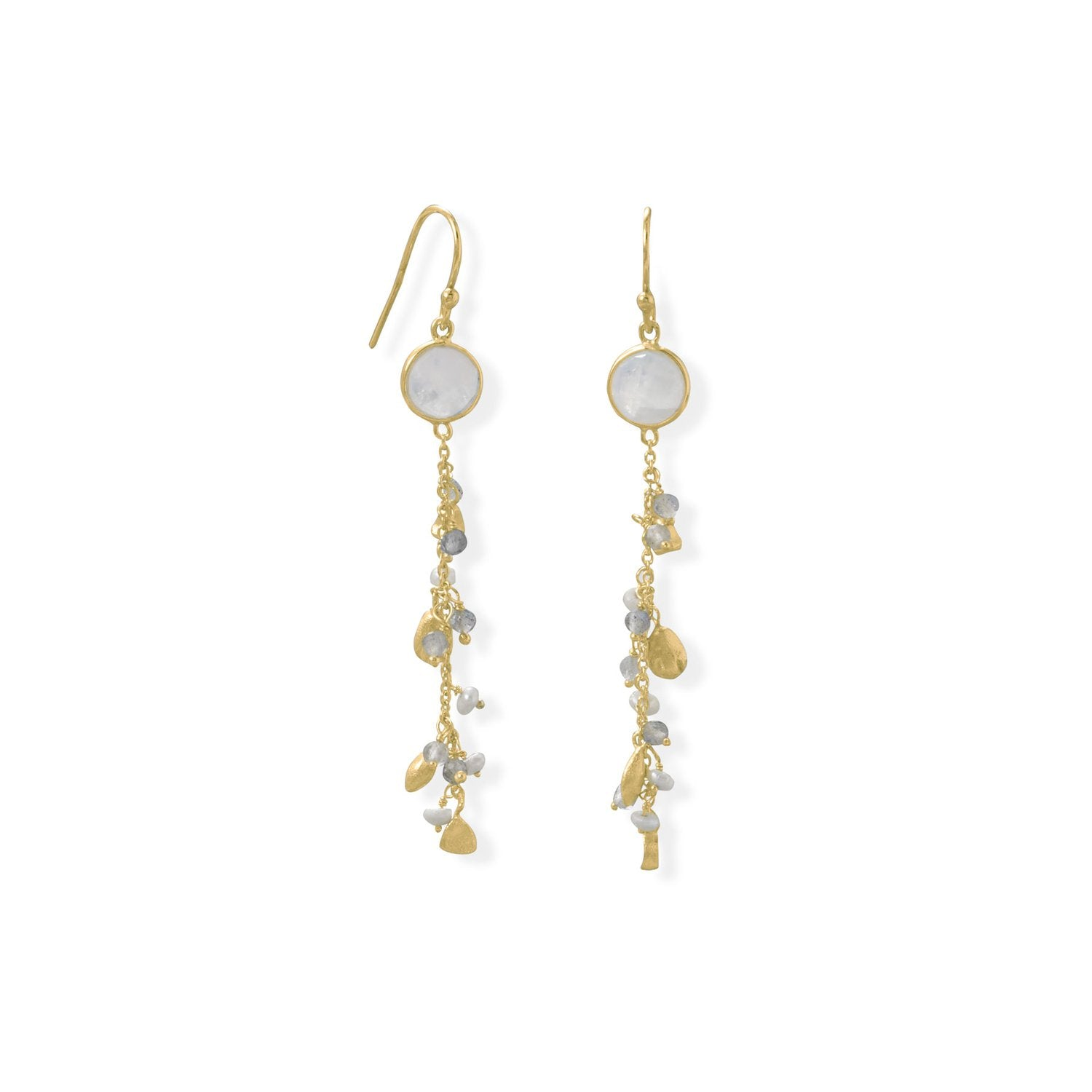 14 Karat Gold Plated Rainbow Moonstone, Labradorite and Pearl Drop Earring
