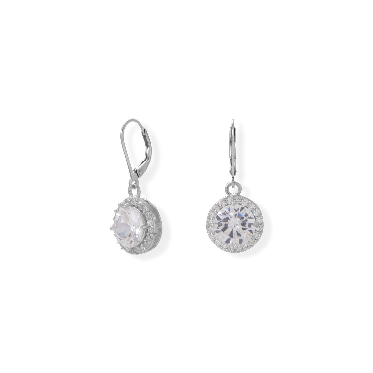 Round CZ with Halo Edge Lever Earrings
