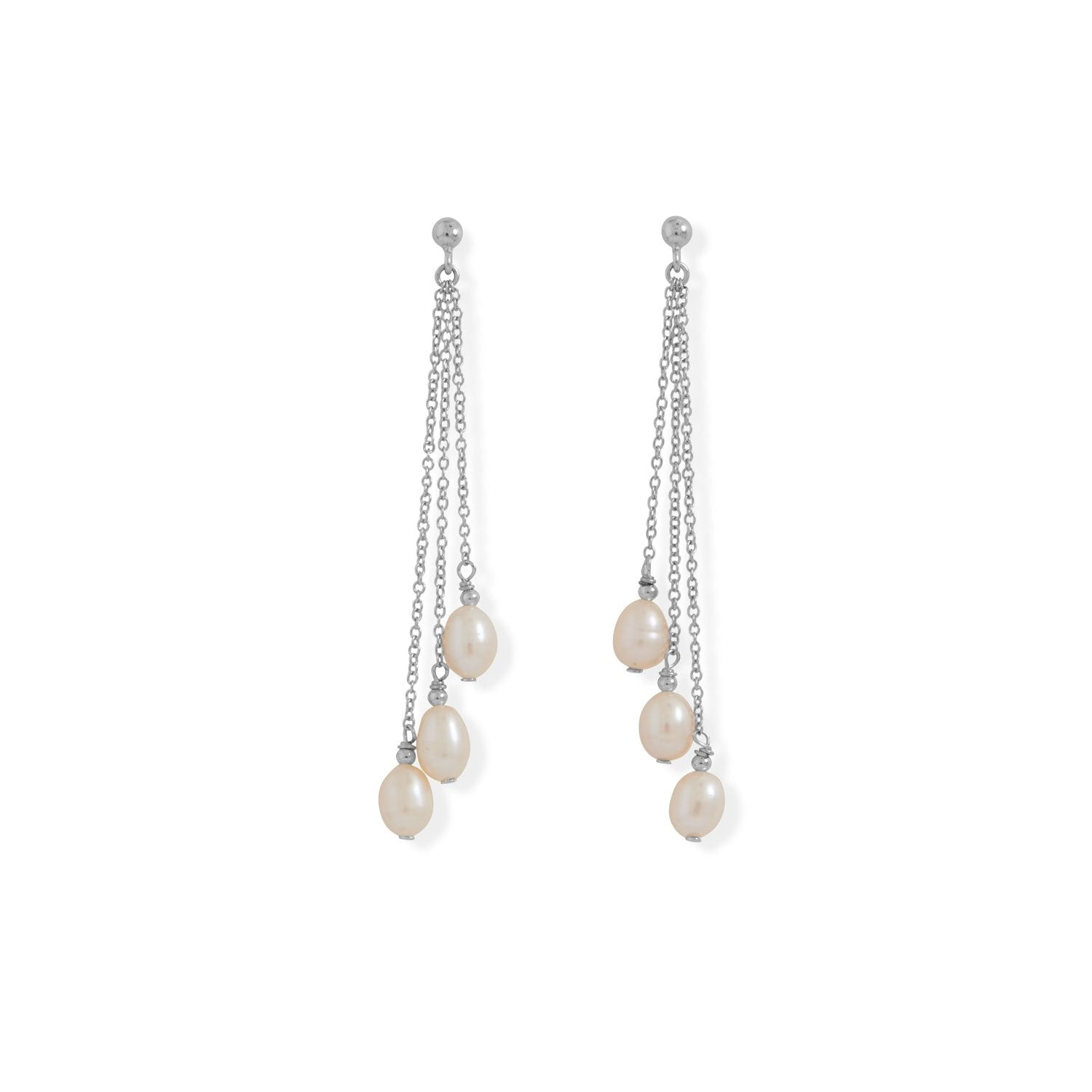 Cultured Freshwater Pearls Chain Drop Earrings