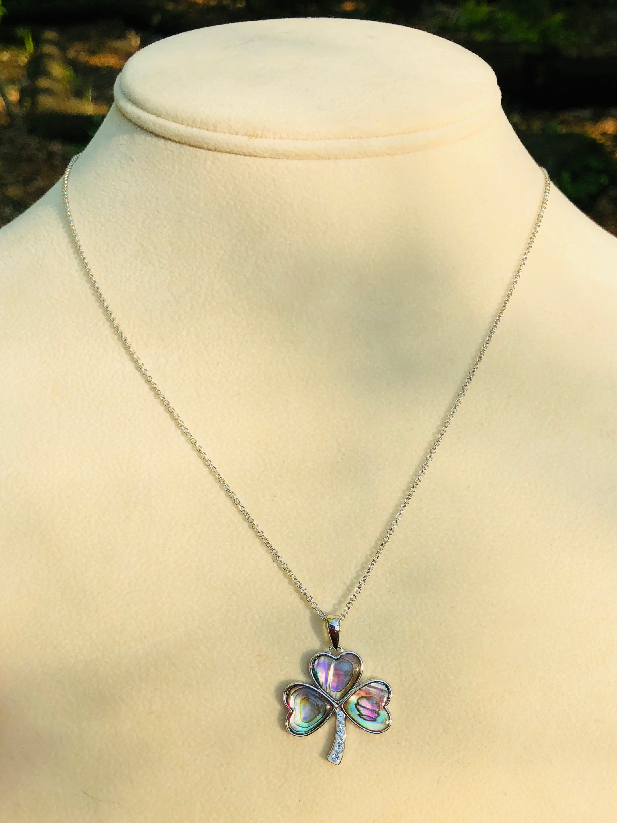 Sterling Silver Abalone Clover Necklace
