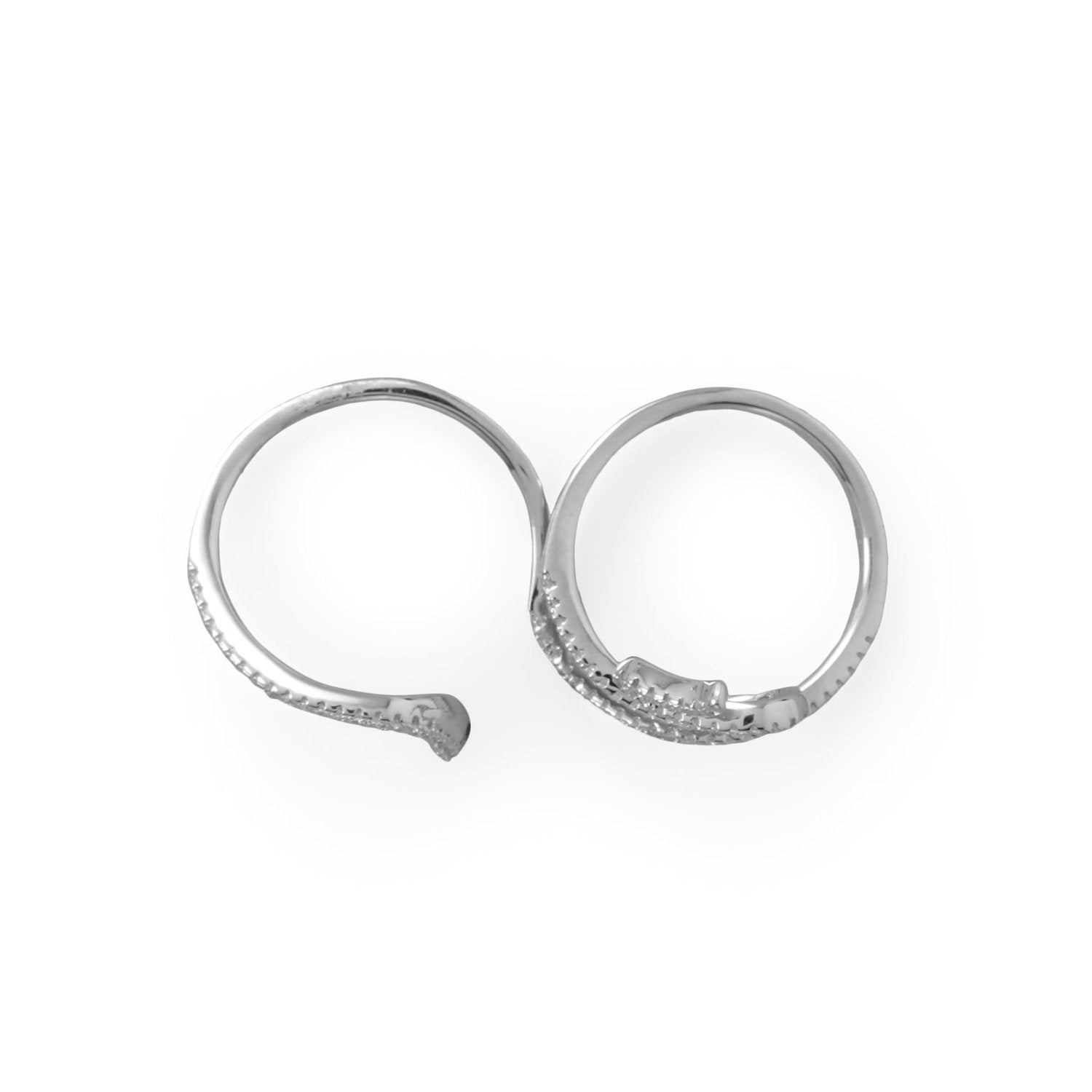 Charming Snake! Rhodium Plated CZ Wrap Snake Ring