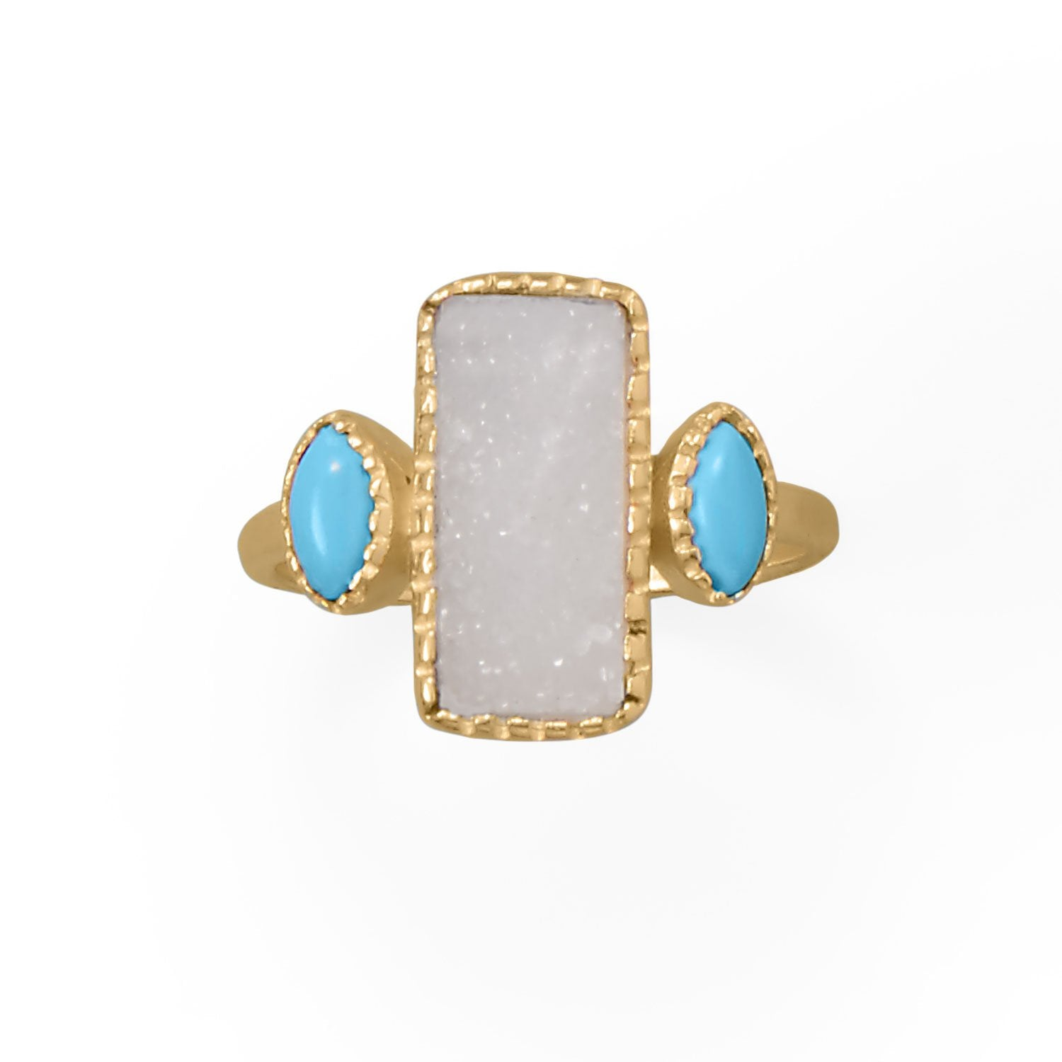 Darling and Dreamy! 14 Karat Gold Plated Druzy and Synthetic Turquoise Ring