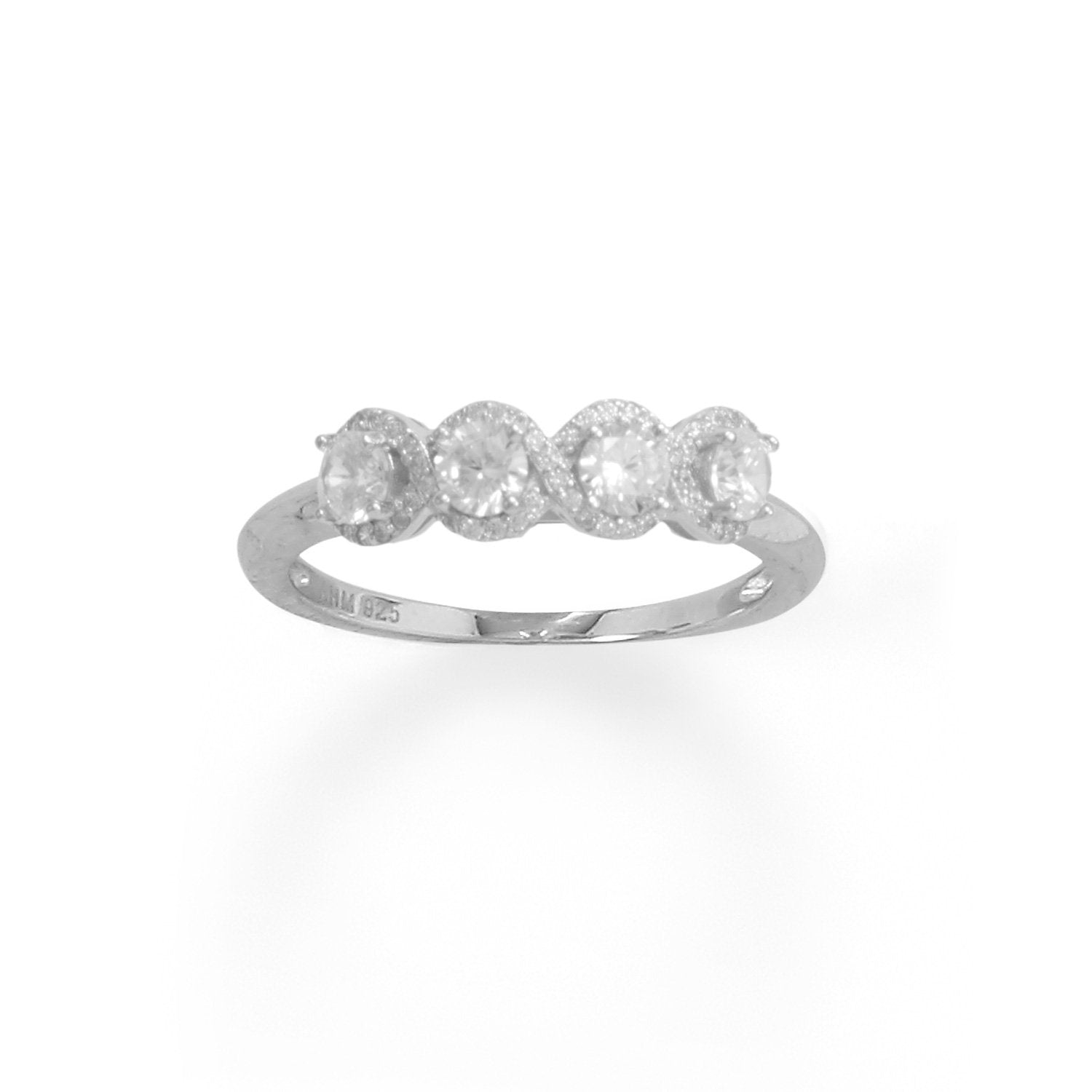 Rhodium Plated 4 CZ with Halo Edge Ring