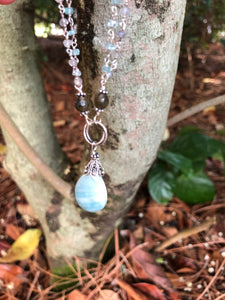 Amazonite and labradorite Sterling Silver Drop necklace