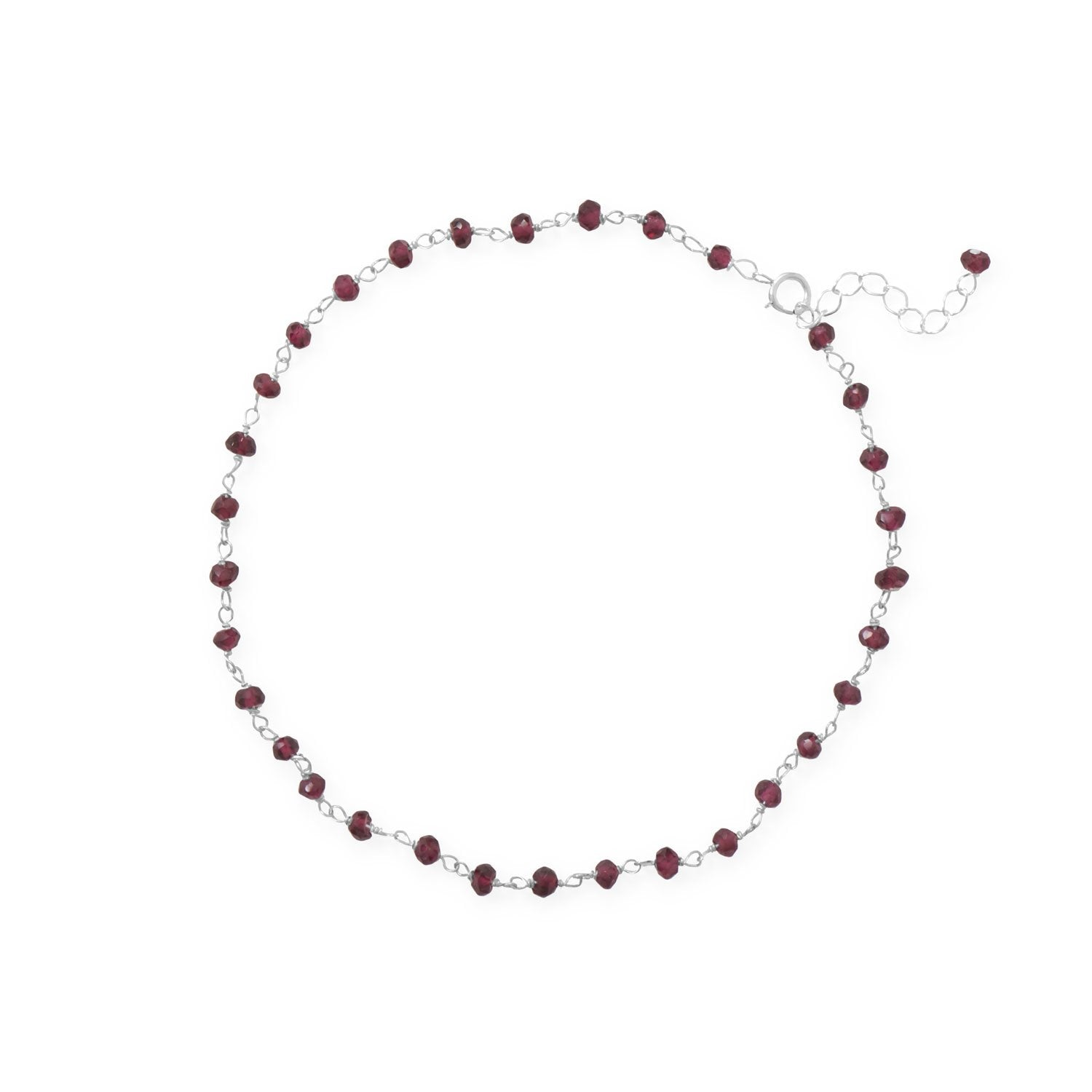 "Glam and Gleaming Garnet! 9.5""+1"" Large Size Sterling Silver Beaded Anklet"