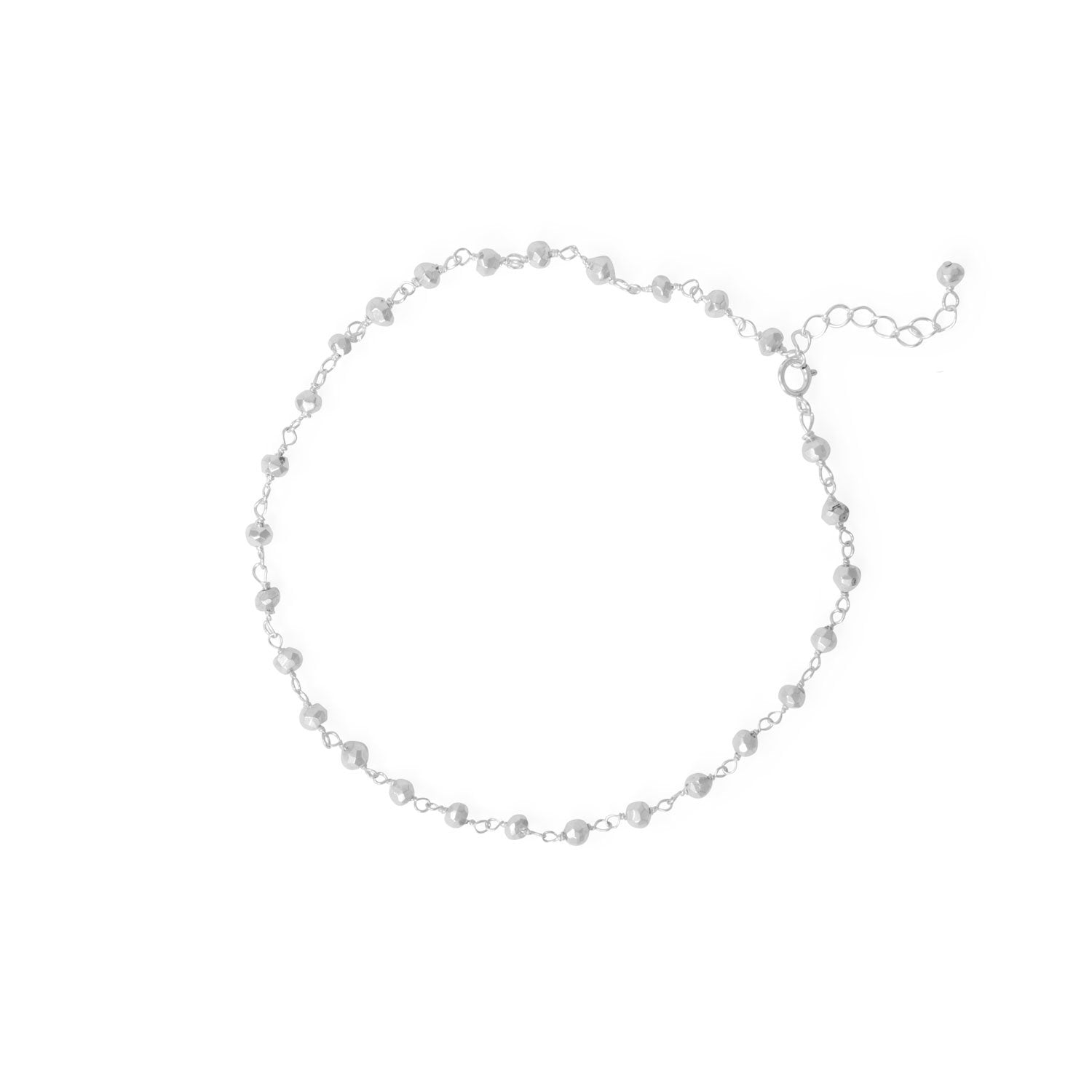 "Midnight Magic! 9.5""+1"" Size Large Sterling Silver Beaded Anklet"