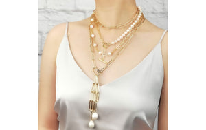 Pearl Chain Drop Necklace