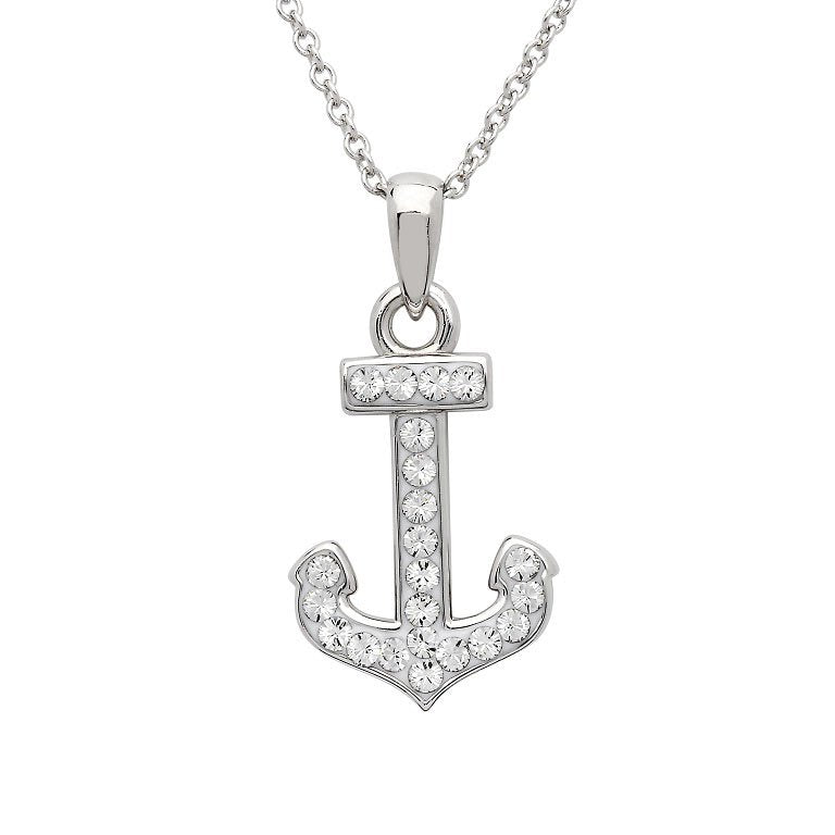 Anchor Necklace Encrusted With White Swarovski® Crystal