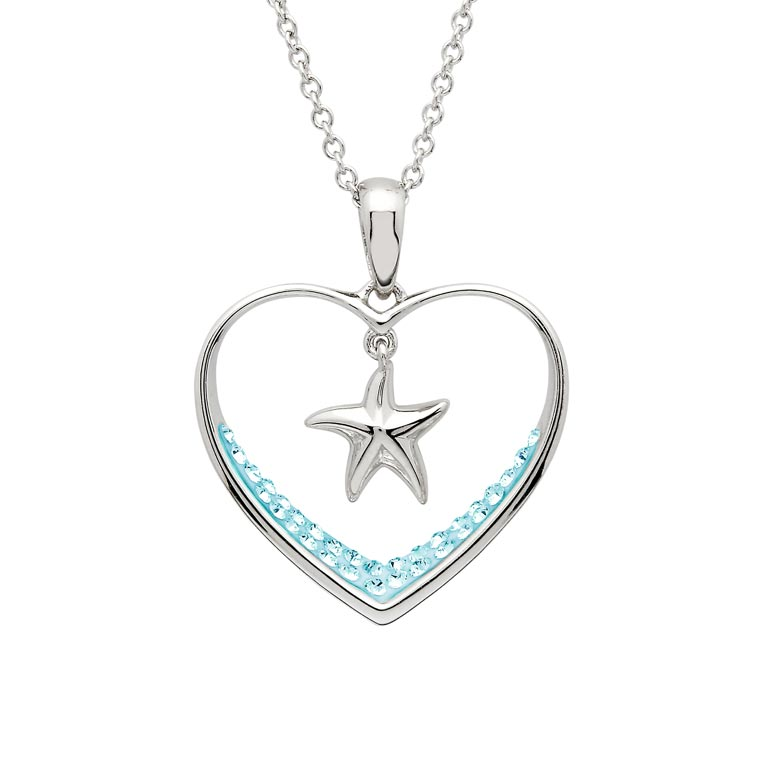 Starfish Heart Necklace With Aqua Swarovski® Crystals