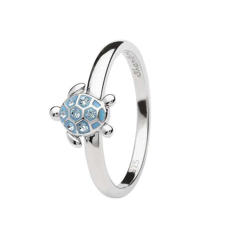 Sea Turtle Ring Encrusted With Aqua Swarovski® Crystals