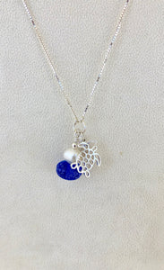 Destin Sand Bead Swarovski Crystal and Pearl Charm Necklace, Sea Turtle or Fish