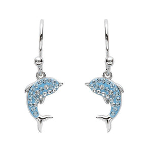 Dolphin Drop Earrings With Aqua Swarovski® Crystals
