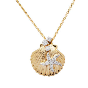 Seashell & Starfish Necklace in 14k Gold & Diamond